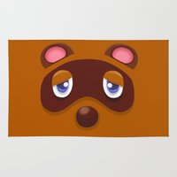 animal crossing Area & Throw Rugs featuring Animal Crossing Tom Nook by ZiggyPasta