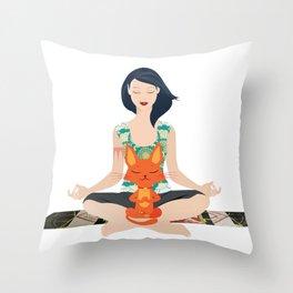 Yoga partners Throw Pillow