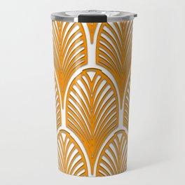 Orange,white,art deco, vintage,fan pattern, art nouveau, vintage, Travel Mug