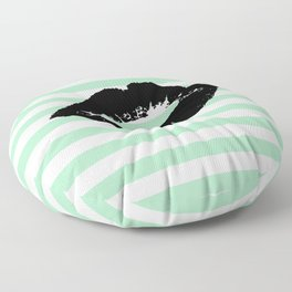 Pastel Goth - Mint Stripes and Lips 1 Floor Pillow