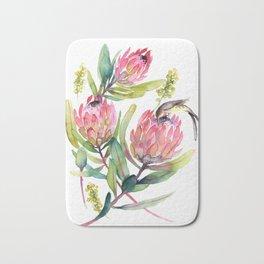 King Protea and Bird Watercolor Illustration Botanical Design Bath Mat