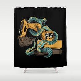 Excavator vs Anaconda Shower Curtain