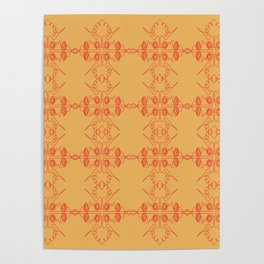 Luxury mandalas red gold Vint. Poster