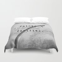 scripture Duvet Covers featuring Adoption Scripture Art Psalm 68:5-6 by KimberosePhotography