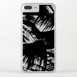 Black hand painted watercolor brushstrokes pattern Clear iPhone Case