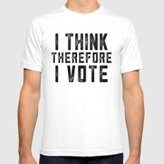 I Think Therefore I Vote SMALL Mens Fitted Tee White