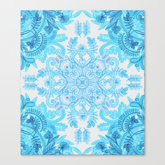 Symmetrical Pattern in Blue and Turquoise Canvas Print