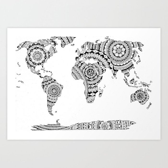 Mandala world map art print by noshortsupply society6 mandala world map art print gumiabroncs Image collections