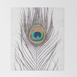 Peacock Feather Throw Blanket