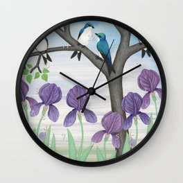 tree swallows & irises Wall Clock