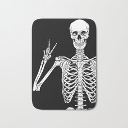 Human skeleton posing isolated over black background vector illustration Bath Mat