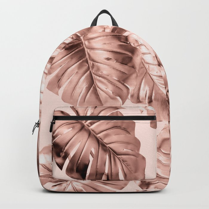 Rose Gold Monstera Backpack