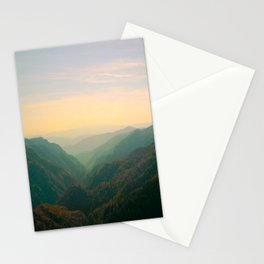 Mountain Valley Parallax Green Yellow Hues Sunset landscape Minimalist Modern Photo Stationery Cards