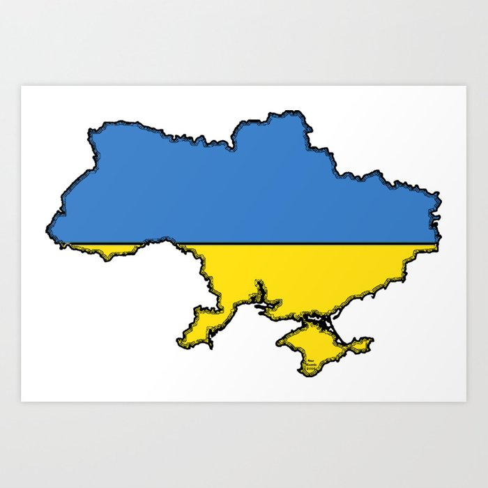 Ukraine Map with Ukrainian Flag Art Print