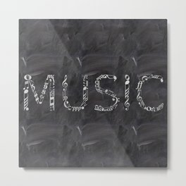 Music typo on chalkboard Metal Print