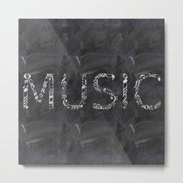 Music typo on chalkboard Metal Print