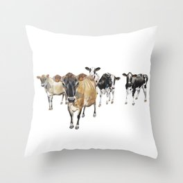 Cow Crowd Throw Pillow