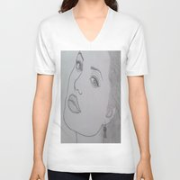 angelina jolie V-neck T-shirts featuring Angelina Jolie by Natasha Lake