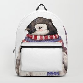 Baby Penguin in Red and Blue Scarf. Winter Season Backpack