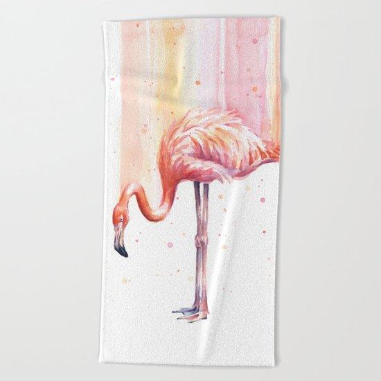 Flamingo Watercolor   Pink Rain Beach Towel