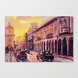 Watercolor painting of colonial buildings in UNESCO World Heritage city of Cuenca, Ecuador Canvas Print