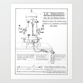 La Pavoni Patent Drawing Poster (Very Old & Rare) Art Print
