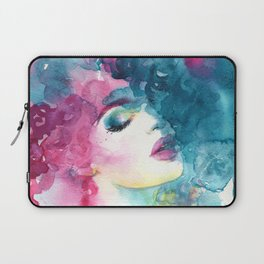Beautiful woman, art and fashion. Hand painted watercolor illustration. Laptop Sleeve