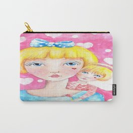 Whimiscal Girl with Angel on Shoulder Carry-All Pouch
