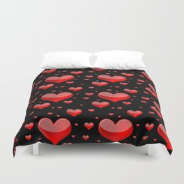 Hearts Red and Black Duvet Cover