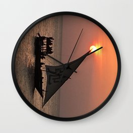 Sunset sea ship relax 弛 chi sign Wall Clock