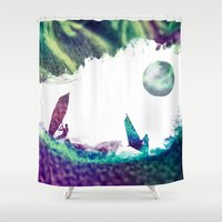 surfer Shower Curtains featuring Time surfer  by jbjart