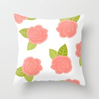roses Throw Pillows featuring Roses by Paint Me Pink