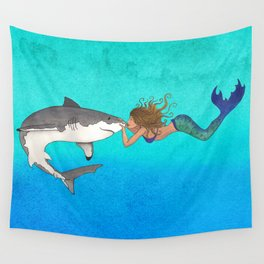 The Shark and the Mermaid Wall Tapestry