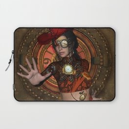 Steampunk women with hat Laptop Sleeve