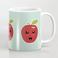 kawaii Mugs featuring Kawaii Apple by Nir P