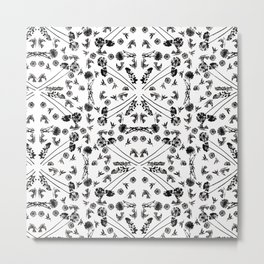 Bird & Flower Pattern Metal Print