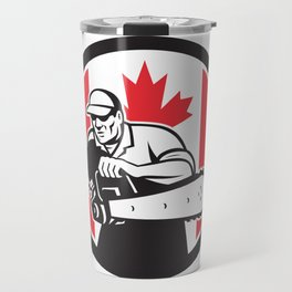 Canadian Tree Surgeon Chainsaw Canada Flag Travel Mug