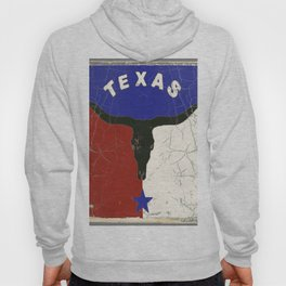 Texas State Flag Longhorn Antique Style Pattern Art Hoody