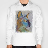 sphynx Hoodies featuring Sphynx Cat by Michael Creese