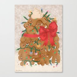 Merry Christmas from Gingerbread Men Canvas Print