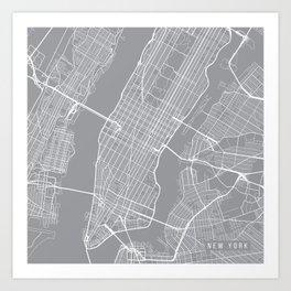 New York City Map, New York USA - Pewter Art Print