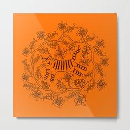 Flowery tiger Metal Print