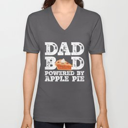 Dad Bod Powered By Apple Pie Father Figure Gifts Idea with Funny Graphic for Food Lovers Unisex V-Neck