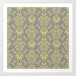 Damask Pattern in Grey and Yellow Art Print