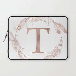 Letter T Rose Gold Pink Initial Monogram Laptop Sleeve