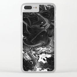 // MARBLED BLACK // Clear iPhone Case