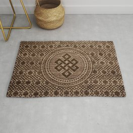 Endless Knot Decorative on Wooden Surface Rug