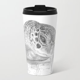 A Green Sea Turtle :: Grayscale Travel Mug