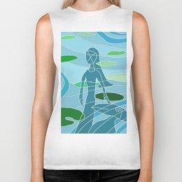woman and bird - lily pond reflection Biker Tank