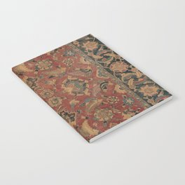 Flowery Boho Rug I // 17th Century Distressed Colorful Red Navy Blue Burlap Tan Ornate Accent Patter Notebook